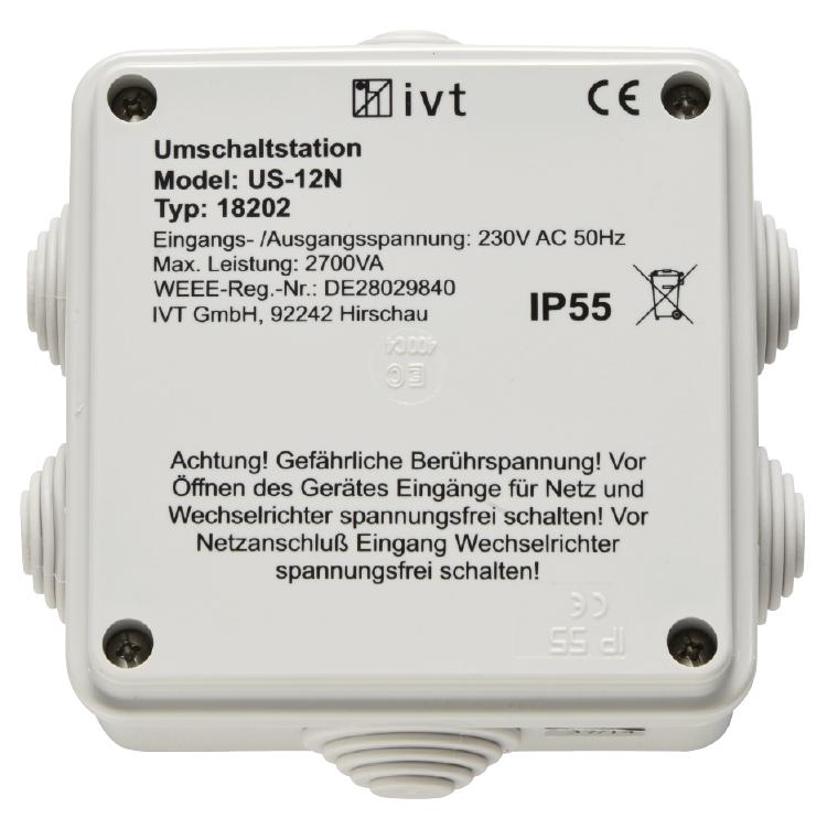 Umschaltstation US-12N, 230 V AC, 12 A, 2700 VA - IVT-Hirschau